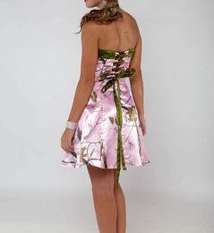 платья для полных и вечерних платьев Скидка На складе платья невесты короткие длиной до колен розовый камуфляж платье невесты без бретелек кружева up лиф Camo вечернее платье
