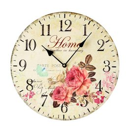 Wholesale flower wall clocks - Pastoral Colored Drawing Flowers Decorative Wall Wood Clock Home Meeting Room Office Decorative Silent Digital Clock