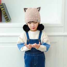 Wholesale Knitted Hats Ball Pattern - Children Lovely Cat Ears Hat Autumn And Winter New Pattern Hair Bulb Wool Hat Knitting Baby Warm Cap Outdoors 2 Ball Both Side