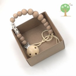 Wholesale Wood Clip Baby - Wholesale-ECO Natural round wooden beads BEECH WOOD beads pacifier clip, dummy chain baby teether, baby teether shower gift NT144
