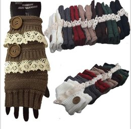 Wholesale Ladies White Gloves Wholesale - Winter Gloves Warm Crochet Fitness Gloves Women Lace Button Wrist Warmer Ladies Soft White Fingerless Gloves Half Finger Glove KKA3143