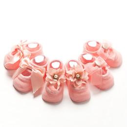 Wholesale Slipper Socks For Girls - Kids Baby Socks 3D Infant Korean Bow Lace Flower Non Slip for Girls Toddler Newborn Children Slippers Cute