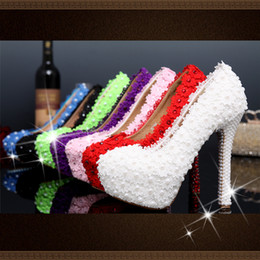 Wholesale Kitten Ballet Flats - New Hand Made Christmas Lace Beads Bridal Heels Women's Fashion Lady Evening Party Pumps Pageant Prom Big Girls Wedding shoes