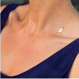 Wholesale Gold Chain Short Choker Necklace - 2016 Hot sale Simple Fashion Gold Plated Female short clavicle chain necklace Delicate Gold bird Necklace   Dove Necklace