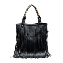 Wholesale Leather Handbags Fringes - Wholesale-women new leather handbags tote sling bags big over shoulder retro fringe European and American Style solid ladies bolsas casual