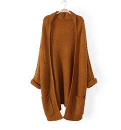 Wholesale Cute Sweaters For Women - Wholesale-2016 fall new women fashion solid brown white long cardigans coat cute beautiful loose sweater knitwear for students
