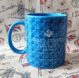 Wholesale Coffee Mugs Advertising - Summer new MAUI DIVERSJEWELRY Hawaii Jewelry Blue Advertising Mug flowers ceramics Coffee cup for Starbucks coffee milk
