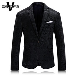 Wholesale Stage Clothes For Men - Wholesale- Solid Black Mens Printed Blazer Leopard Fashion Mens Clothing Party Stage Costumes For Singers Slim Fit Coat Blazer Homme M-4XL