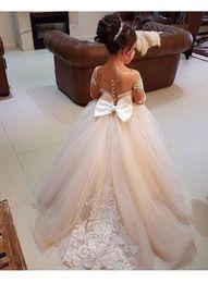Wholesale Court Flooring - 2018 New Design Tulle Little Flower Girls Dresses Court Train Long Illusion Sleeves First Communion Dress Girl Pageant Dress Custom Made