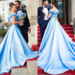Wholesale Fancy Prom - 2017 Long Fancy Prom Dress Light Blue Off Shoulders Backless Corset Back Dubai Arabic Formal Pageant Party Gown Custom Made Plus Size