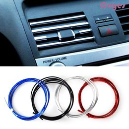 Wholesale Color Conditioners - 3M Car Decoration Accessories U Style DIY Interior Strip Air Conditioner Outlet Vent Grille Chrome Decoration Strips