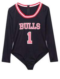 Wholesale New Club Bodysuits - New Autumn Sexy Slim Bodysuits Women Letter BULLS Print Rompers Overalls Sexy Playsuits Bodycon Black Red Club Jumpsuit