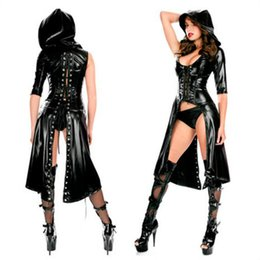 women sexy faux leather latex catsuit Coupons - New Arrival Sexy Gothic Punk Fetish Black Latex Catsuit Faux Leather Pirate Halloween Role Play Costume Jumpsuit