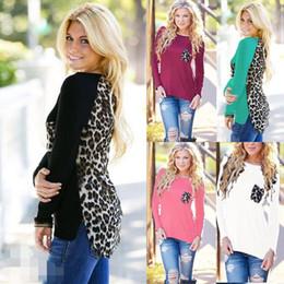 Wholesale High Tops Leopard Print - Women T Shirt Lady Chiffon Shirt New O-Collar Pocket Long Sleeve Blusa High Quality Sexy Leopard Print Tops Autumn 5XL Plus Size