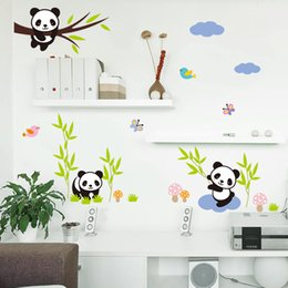 animales del bosque calcomanías niños Rebajas Bosque de dibujos animados Panda Bamboo Birds Tree Pegatinas de pared Para Habitación de Niños Bebé Nursery Room Decor Animales Tatuajes de Pared Arte Mural