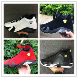 Wholesale Cheap Size 14 Basketball Shoes - High Quality Cheap Air Retro 14 Men Basketball Shoes 14s Fusion Varsity Red Suede Thunder Black XIV Playoffs Sneakers size 40-47