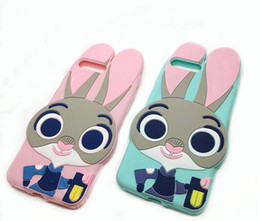 Wholesale Bunny Iphone Covers - 3D Judy Rabbit Cute Cartoon Silicon cover for Iphone 4 4s 5 5S se 6 6s plus 7 7plus mobile phone case bunny