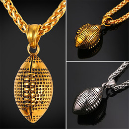 Wholesale Ball Charm - U7 New Sports Golden Rugby Ball Oval Retro Pendant Necklace Stainless Steel Charm American Football Ball Sport Jewelry for Men