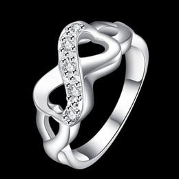 Wholesale Wedding Rings Velvet Bags - Women Luxury Silver Infinity Ring Designer Brand 8-Shaped Wedding Rings Original Clear CZ Midi Rings With Velvet Gift Bag