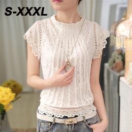Wholesale Tee Shirt Crochet - S-XXXL Women's Fashion Crochet Chiffon Lace Tops Sexy Elastic Waist Stand Collar Short Sleeve Tee Shirt