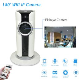 Wholesale Remote Controlled Webcam - New 180 Degree Panorama Camera Fisheye Lens WIFI IP Camera Night Vision Motion Detection Camcorder APP Remote Control P2P Webcam