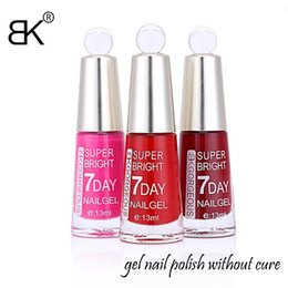 Wholesale Long Red Nails - Wholesale-13ml beautiful bk 48colors Chess bottle long lasting 7days super bright gel nail polish without cure by lamp