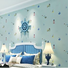 Wholesale Paper Wallpaper Baby - Wholesale-Modern Simple Mediterranean 3D Cartoon Baby Boys Girls Kid's Room Bedroom Wallpaper Rolls For Wall Non-woven Embossed Wall Paper
