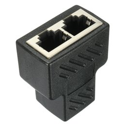 Wholesale Copper Network Cable - Wholesale- High Qaulity 1pc Plastic Copper Core 1 To 2 LAN RJ45 Connector Network Cable Splitter Extender Plug Adapter Connector Black