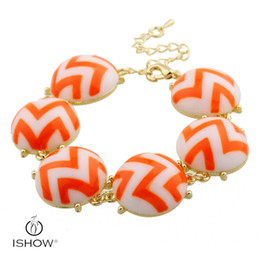 Wholesale Wholesale Chamilia Charms - Wavy pattern European Style gold Plated Chamilia Beads Bracelet & Bangles for Women with big Acrylic Beads HYJS1214B