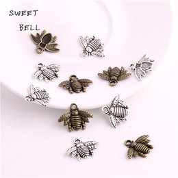 Wholesale Bee Slides - SWEET BELL Min order 50pcs 16*21mm Zinc Alloy Two color Bee charms Lovely Bee Honey bee Charm Pendant Fit Diy Jewelry Making D6133