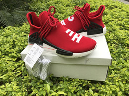 Wholesale Pink Wrestling Shoes - Red Human Race With HU 2017 NMD Red Pharrell Williams Running Shoes With Box NMD Men Women Running Shoes Freeshipping Size 36-48