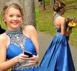 Wholesale Sexy Aline Prom Dresses - Royal Blue Two Piece Prom Dresses Beaded High Neck Crystal Satin Aline Backless Graduation Dresses Cute Homecoming Dresses Party Gown