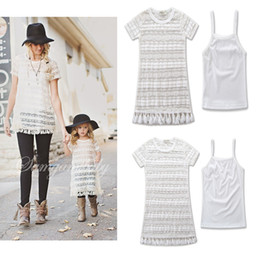 Wholesale Casual Cotton Sun Dresses - 2017 new mom daughter dresses Summer white tassels lace Dress Suits family matching clothing mother and daughter clothes Girls sun-top A323
