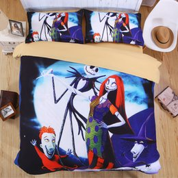 Wholesale Christmas Bedding Sets Queen - Nightmare Before Christmas Bedding Set Skull 3D Printed Bed Sheet Set Duvet Cover Sets Kids Bedroom Bedclothes Juego de cama