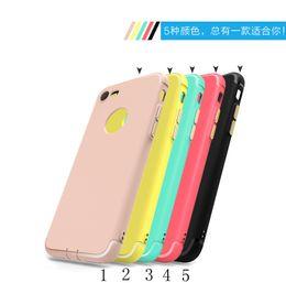 Wholesale Transparent Coloured Iphone Cases - Luxury Scrub TPU Phone Case For iPhone 6S Plus Upscale Electroplate button Case For iphone7 7Plus 4 Colour stock