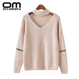 9bdde3fa7a Wholesale-OMCHION 2016 Winter Knitted Pullover Neckline Hollow Neck Hanging  V-Neck Zipper Autumn Sweater Women Sweaters And Pullovers MY73