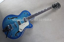 Wholesale Semi Hollow Jazz - Factory Custom blue Gret sch Falcon 6120 Semi Hollow Body Jazz Electric Guitar With bigb Tremolo Free Shipping