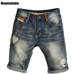 Wholesale Men Wearing Holes Shorts - Wholesale- Mountainskin Summer New Men's Hole Jeans Thin Pop Street-wear Male Jeans Slim Mid Denim Shorts Solid Fashion Brand Jeans,SA166