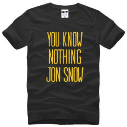 Wholesale Free Multi Games - New Summer Style Fashion Game of Thrones You Know Nothing Jon Snow T Shirts Casual Short Sleeve Cotton T-shirts Men Free Shipping