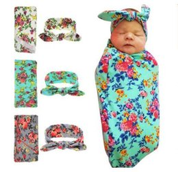 Wholesale Plain Baby Clothes - Kids Baby Swaddle Blankets Newborn Headband With Bunny Ear Headbands Swaddle Wrap Floral Head bands Kids Clothing 9 Colors DHL Free Shipping