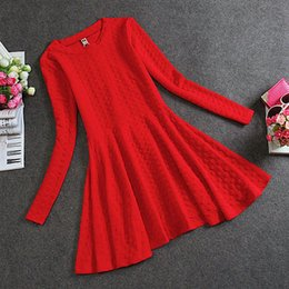 Wholesale Knit Dress China - New Arrivals 2016 Women Dresses Black Red Evening Party Dress Women Autumn Knitted Long Sleeve Dress Cheap Clothes China