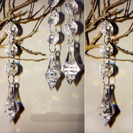 Wholesale Wedding Tree Centerpiece Crystal - Acrylic Crystal Beads Garland Chandelier Hanging 14 mm Bead Chains Drop Pendant Wedding Props Centerpiece Tree Curtain Party Home Decoration
