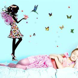 Wholesale Wall Art Kids Playroom - Fairy Princess Butterfly Wall Sticker Art Decals for Kids Girls Bedroom Nursery Playroom Kindergarten Store