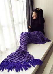 Wholesale Crochet Christmas Bag - 2017 beautiful knitted crochet inspired mermaid tail blanket with tassel christmas gift sleeping bag sofa home use blankets fish scale