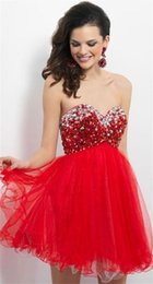Wholesale Gorgeous Short Skirts - Gowns 2017 New Strapless Red Mini Tiers Tulle Skirt Party Dresses Gorgeous Crystal Beaded Charming Cocktail Dress Formal Prom Guest Dress
