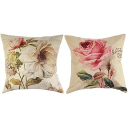 Wholesale Vintage Flower Throw - Wholesale- Vintage Decorative Home Cotton Linen Pillow Case Cover Living Room Bed Chair Seat Waist Throw Cushion Rose Flowers Pillowcases