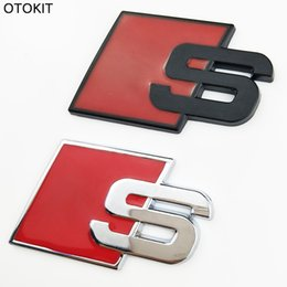 Wholesale Front Stickers - S Logo Sline Emblem Badge Car Sticker Red Front Rear Boot Door Side Fit For Audi Quattro VW TT SQ5 S6 S7 A4 Accessories