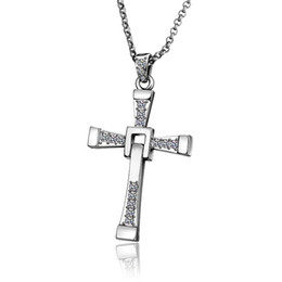 Wholesale Wholesale Fast Furious - Fast and Furious Dominique Cross Pendant Necklace 18K gold plated rhinestone crystal chain 60CM fashion jewelry free shipping