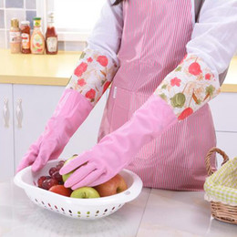 Wholesale Potato Free - Thick Polar Fleece Inside Long Anti Cold Latex Gloves Cleaning Gloves Rubber Gloves for Gardening Dish Washing free shipping