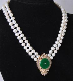 Weiße perle grüne jade halskette online-Kostenloser Versand *** Schöne 2Rows White Pearl Green Jade Anhänger Halskette